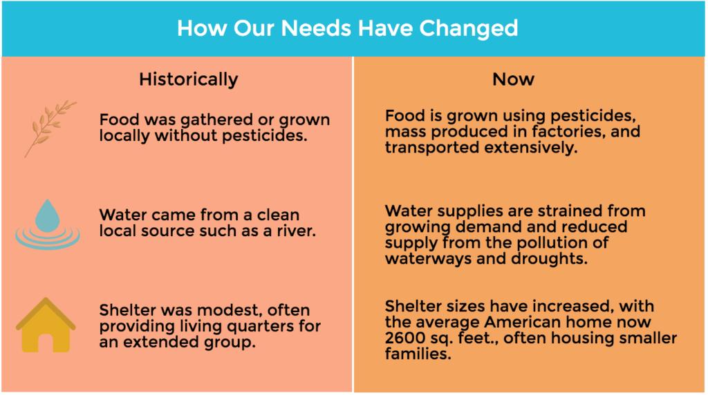 sustainability needs food water shelter